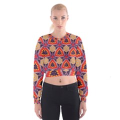 Triangles honeycombs and other shapes pattern   Women s Cropped Sweatshirt