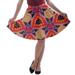 Triangles honeycombs and other shapes pattern A-line Skater Skirt