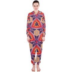 Triangles Honeycombs And Other Shapes Pattern Hooded Onepiece Jumpsuit