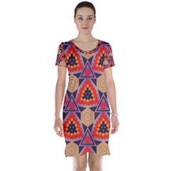 Triangles honeycombs and other shapes pattern Short Sleeve Nightdress