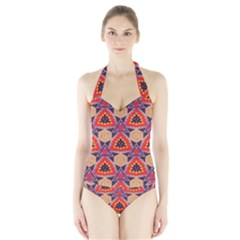Triangles honeycombs and other shapes pattern Women s Halter One Piece Swimsuit