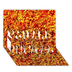 Orange Yellow  Saw Chips You Are Invited 3d Greeting Card (7x5)