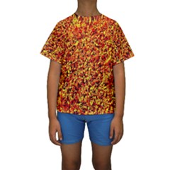 Orange Yellow  Saw Chips Kid s Short Sleeve Swimwear