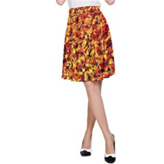 Orange Yellow  Saw Chips A-Line Skirt