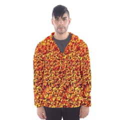 Orange Yellow  Saw Chips Hooded Wind Breaker (Men)