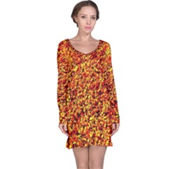 Orange Yellow  Saw Chips Long Sleeve Nightdresses