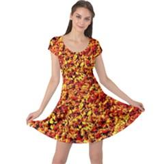 Orange Yellow  Saw Chips Cap Sleeve Dresses
