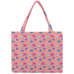 Birds Pattern on Pink Background Tiny Tote Bags