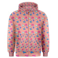 Birds Pattern On Pink Background Men s Zipper Hoodies