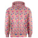 Birds Pattern on Pink Background Men s Zipper Hoodies View1