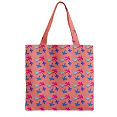 Birds Pattern On Pink Background Zipper Grocery Tote Bags