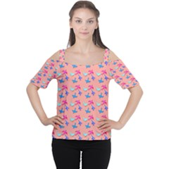 Birds Pattern on Pink Background Women s Cutout Shoulder Tee