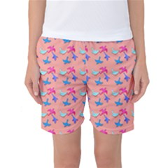 Birds Pattern on Pink Background Women s Basketball Shorts