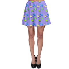 Blue And Green Birds Pattern Skater Skirts