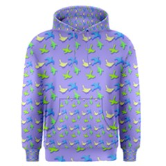 Blue and Green Birds Pattern Men s Pullover Hoodies