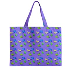 Blue And Green Birds Pattern Zipper Tiny Tote Bags