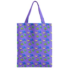 Blue And Green Birds Pattern Zipper Classic Tote Bags
