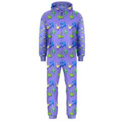 Blue And Green Birds Pattern Hooded Jumpsuit (men)