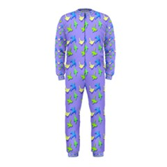 Blue And Green Birds Pattern Onepiece Jumpsuit (kids)
