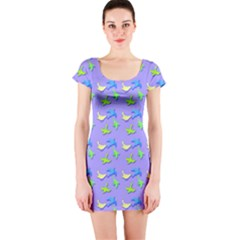 Blue and Green Birds Pattern Short Sleeve Bodycon Dresses