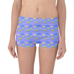 Blue and Green Birds Pattern Boyleg Bikini Bottoms