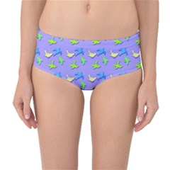 Blue and Green Birds Pattern Mid-Waist Bikini Bottoms