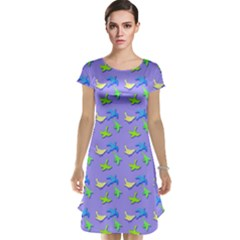 Blue And Green Birds Pattern Cap Sleeve Nightdresses
