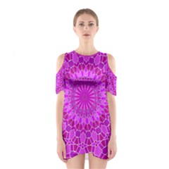 Purple and Pink Abstract Women s Cutout Shoulder Dress