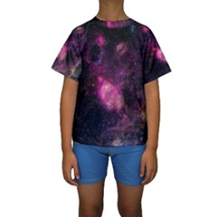 PURPLE CLOUDS Kid s Short Sleeve Swimwear