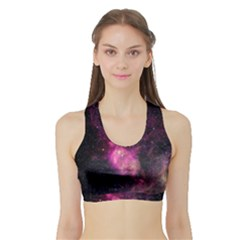 Purple Clouds Women s Sports Bra With Border