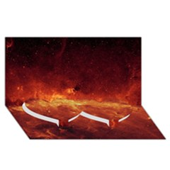 MILKY WAY CLOUDS Twin Heart Bottom 3D Greeting Card (8x4)