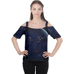 GLOBAL NIGHT Women s Cutout Shoulder Tee