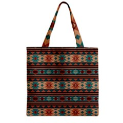Southwest Design Turquoise and Terracotta Zipper Grocery Tote Bags