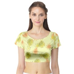 Shabby Floral 1 Short Sleeve Crop Top
