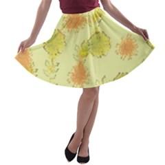 Shabby Floral 1 A-line Skater Skirt