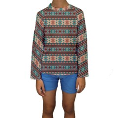 Southwest Design Turquoise And Terracotta Kid s Long Sleeve Swimwear