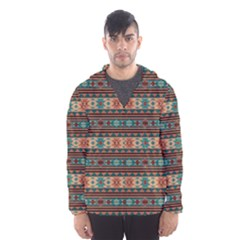 Southwest Design Turquoise and Terracotta Hooded Wind Breaker (Men)