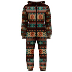 Southwest Design Turquoise and Terracotta Hooded Jumpsuit (Ladies)