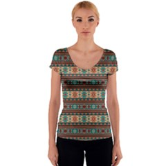 Southwest Design Turquoise and Terracotta Women s V-Neck Cap Sleeve Top
