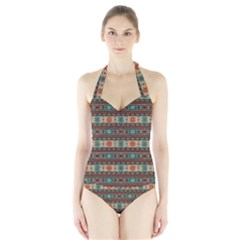 Southwest Design Turquoise and Terracotta Women s Halter One Piece Swimsuit