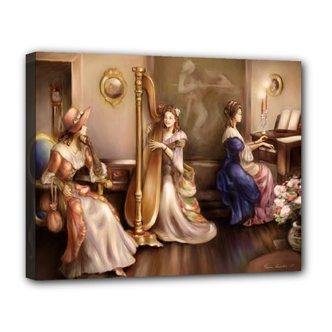 Piano And Harp Canvas 14  X 11  (framed)