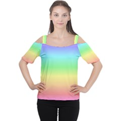 Rainbow Colors Women s Cutout Shoulder Tee