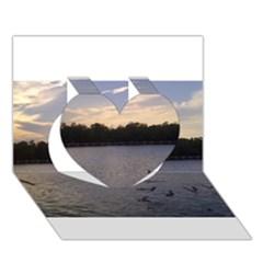 Intercoastal Seagulls 3 Heart 3D Greeting Card (7x5)