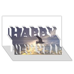 Seagull 1 Happy New Year 3D Greeting Card (8x4)