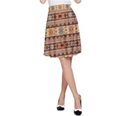 Southwest Design Tan and Rust A-Line Skirt