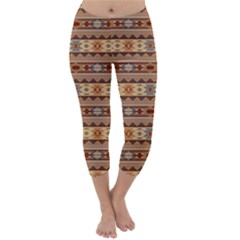 Southwest Design Tan And Rust Capri Winter Leggings