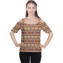 Southwest Design Tan and Rust Women s Cutout Shoulder Tee