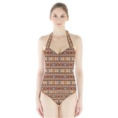 Southwest Design Tan and Rust Women s Halter One Piece Swimsuit