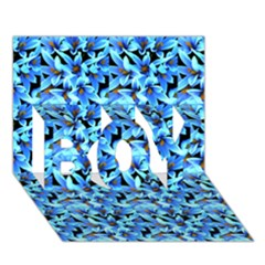 Turquoise Blue Abstract Flower Pattern BOY 3D Greeting Card (7x5)