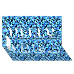 Turquoise Blue Abstract Flower Pattern Merry Xmas 3D Greeting Card (8x4)